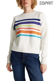 Esprit Natural Oversized Sweater With Rainbow Stripes