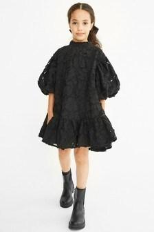 Black Textured Cotton Dress (3-16yrs)