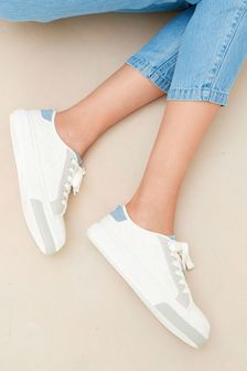 White/Blue Regular/Wide Fit Forever Comfort® Chunky Baseball Trainers