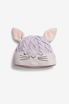 Lilac Bunny Face Knitted Beanie (Younger)
