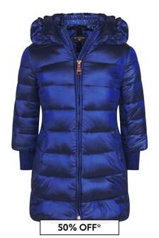 Girls Blue Down Padded Coat
