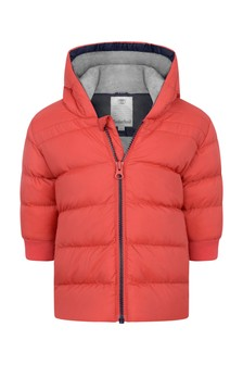 Baby Boys Red Hooded Padded Jacket