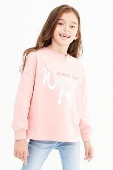 Pink Wonderful Foil Slogan Long Sleeve Top (3-16yrs)
