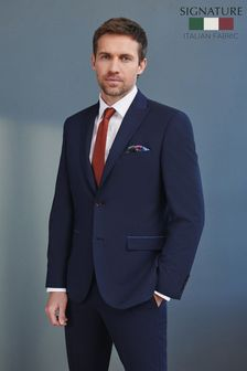 Navy Tailored Fit Signature Puppytooth Suit: Jacket