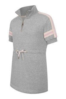 فستان فليس قطن رمادي بخيوط شاحبة بناتي