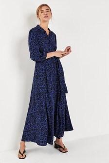 Blue Leopard Belted Maxi Shirt Dress