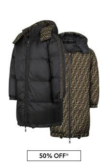 Kids Black Reversible Down Padded Coat