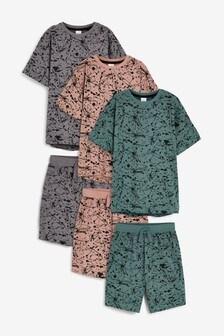 Multi Splat 3 Pack Short Pyjamas (3-16yrs)