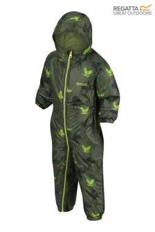 Regatta Green Little Adventurers Pobble Waterproof Suit