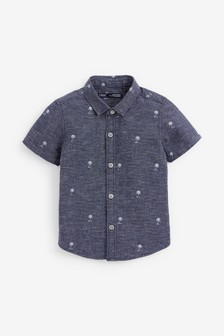 Blue Short Sleeve Palm Tree Print Shirt (3mths-7yrs)