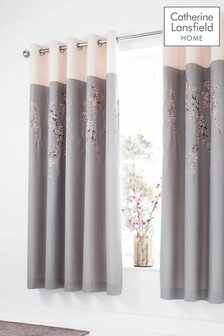Embroidered Blossom Eyelet Curtains by Catherine Lansfield