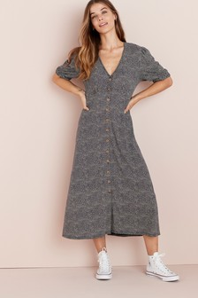Blue Maternity/Nursing Button Through Dress