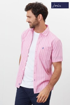 Joules Pink Wilson Stripe Short Sleeve Classic Fit Check Shirt