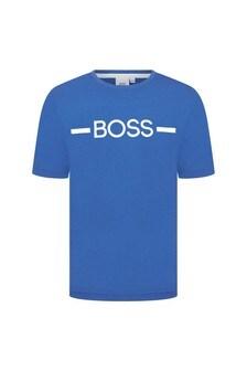 BOSS Boys Blue Cotton T-Shirt