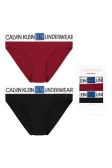 Girls Black & Rhubarb Cotton Bikini Knickers Two Pack