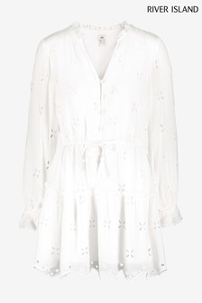 River Island White Broderie Smock Mini Dress