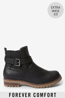 Black Extra Wide Fit Forever Comfort® Chunky Casual Chelsea Boots