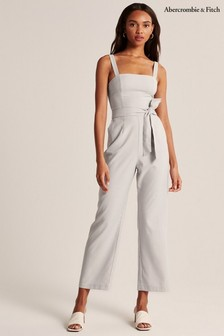 Abercrombie & Fitch Cream Strappy Jumpsuit