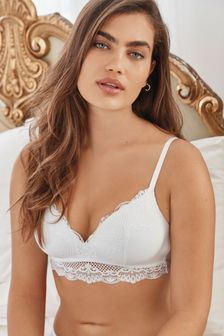 White Daisy Lightly Padded Wire Free Lace Bra
