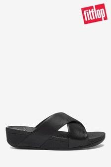 Fitflop™ Black Lulu Cross Slide Leather Sandals