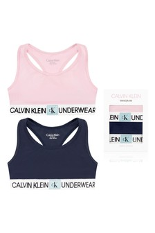 Girls Navy & Pink Cotton Bralettes Two Pack