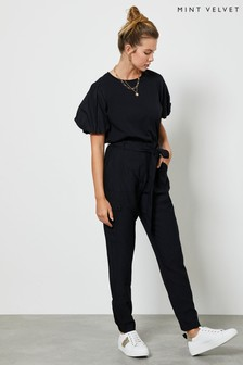 Mint Velvet Black Belted Cargo Trousers
