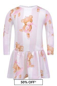 Baby Girls Pink Striped Cotton Teddy Dress
