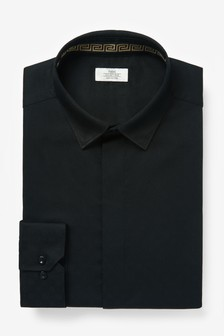 Black Slim Fit Single Cuff Concealed Placket Shirt With Trim Detail
