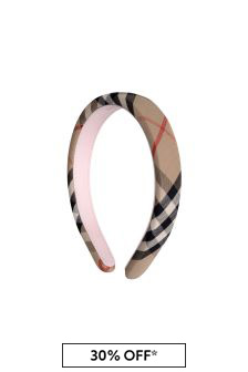 Girls Beige Archive Check Headband