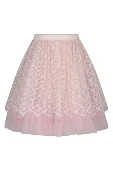 Girls Pink Tulle GG Embroidered Skirt