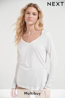 White Slouch V-Neck Long Sleeve T-Shirt