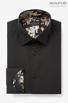Black Regular Fit Single Cuff Signature Trimmed Shirt