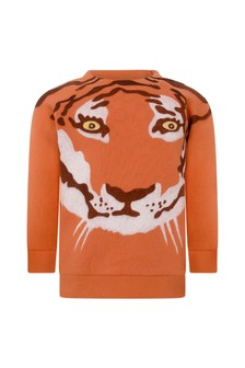 Baby Boys Orange Cotton Tiger Sweatshirt