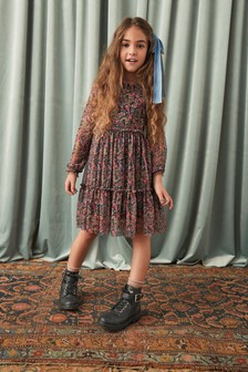 Black Paisley Tulle Tiered Dress (3-16yrs)