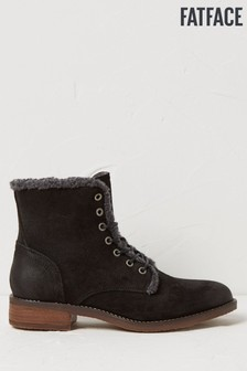 FatFace Black Crosby Borg Lined Lace Up Boots
