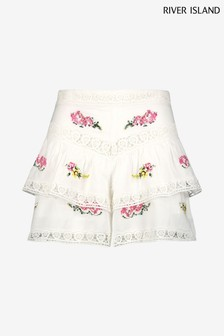 River Island White Embroidered Frill Tiered Shorts