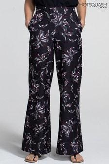HotSquash Purple Luxe-Lounge Wide Leg Crepe Trousers