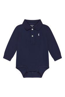 Baby Boys Navy Cotton Polo Bodysuit