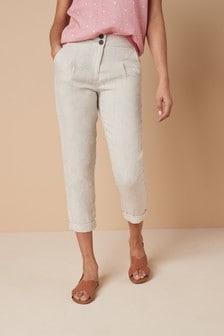 Stone 100% Linen Taper Trousers