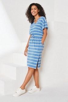 Blue Stripe Jersey Midi Dress