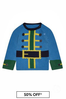 Baby Boys Blue Cotton Jumper