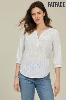 FatFace White Elodie Broderie Popover Top