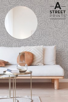 A Street Grey Periwinkle Floral Wallpaper
