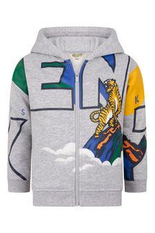 Boys Grey Cotton Tiger Zip-Up Top