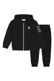 Boys Black Cotton Logo Print Tracksuit