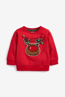 Red Rudolph Bouclé Crew Sweater (3mths-7yrs)