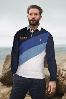 Blue/White Diagonal Blocked Rugby Shirt