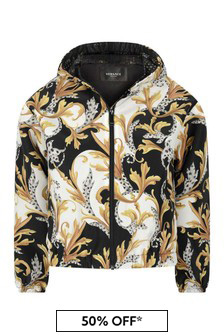 Boys White Black And Gold Jacket