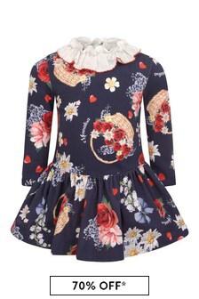 فستان جيرسيه قطن أزرق داكن زهورللبنات البيبي
