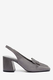 Grey Hardware Slingback Loafers